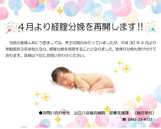 当院の産婦人科につきましては、帝王切開のみ行っていましたが、平成30年4月より常勤医師3名体制となり、経腟分娩を再開することとなりました。里帰り分娩も受け付けております。詳細は0943-23-4131(代表)、診療支援課にお問い合わせください。